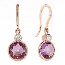 Pravins Briolette Amethyst & Diamond Earrings