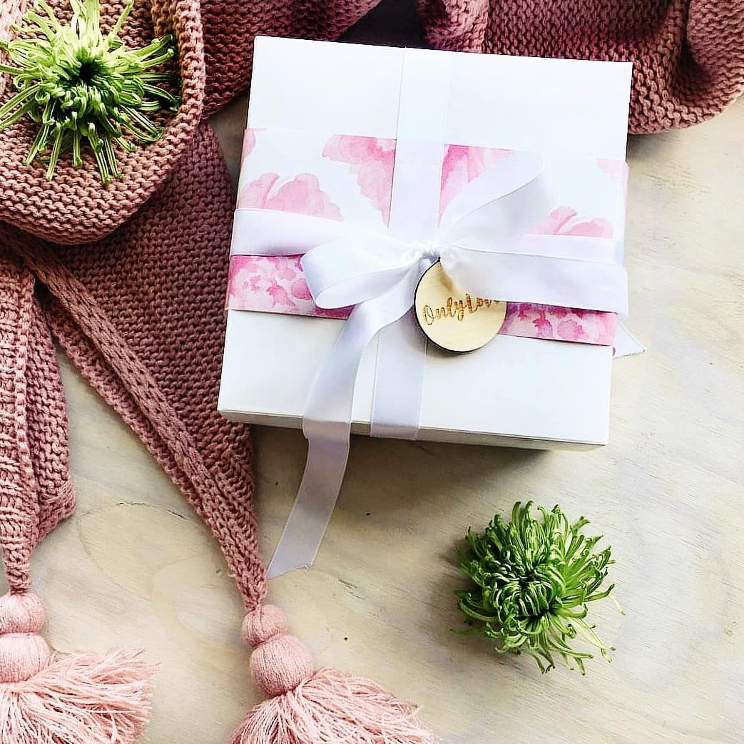 Pretty Belly Band On White Wrapping Paper
