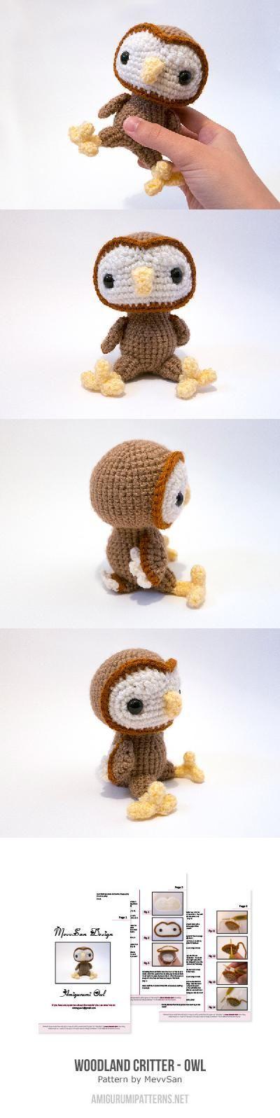 Woodland Critter - owl amigurumi pattern by MevvSan | Ave, Tejido y ...