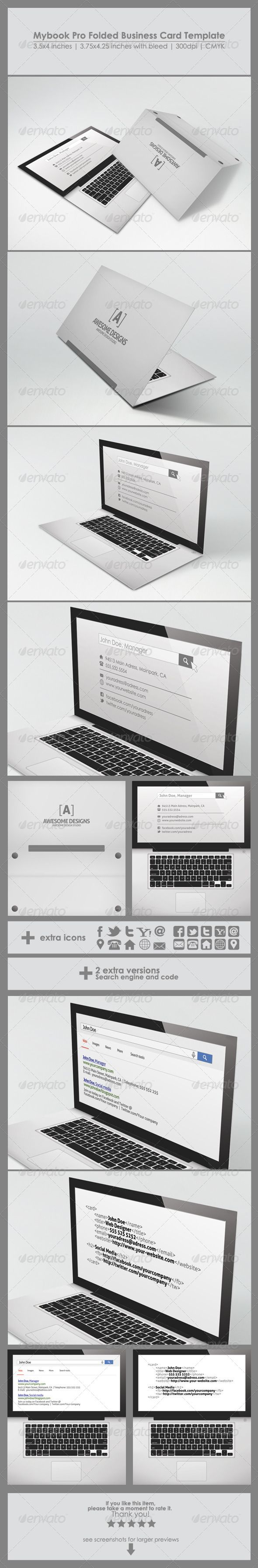Mybook Pro Folded Business Card Template | Card templates ...