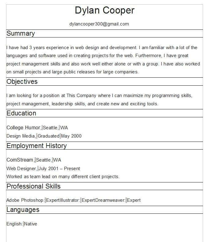 Free Resume Templates No Fees 3-Free Resume Templates Pinterest