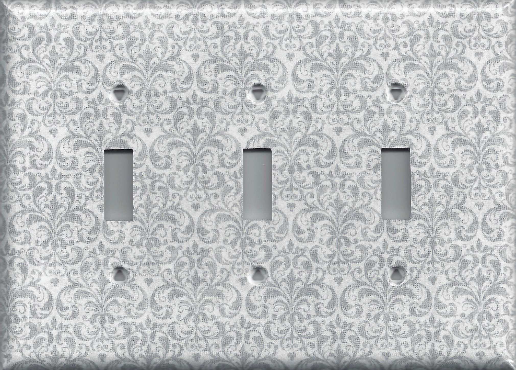 Silver Light Switch Covers Silvergraygrey Damask Print Hand Made Light Switch Plates