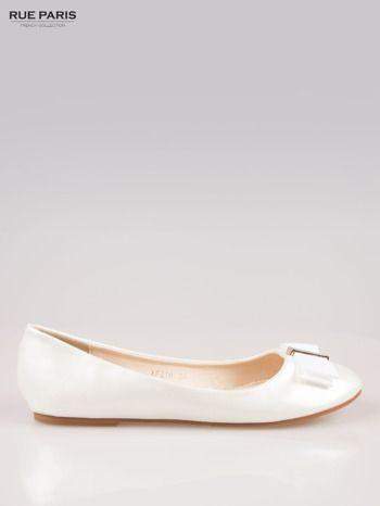 Rue Paris Biale Blyszczace Balerinki Z Kokardka Fashion Shoes Trendy