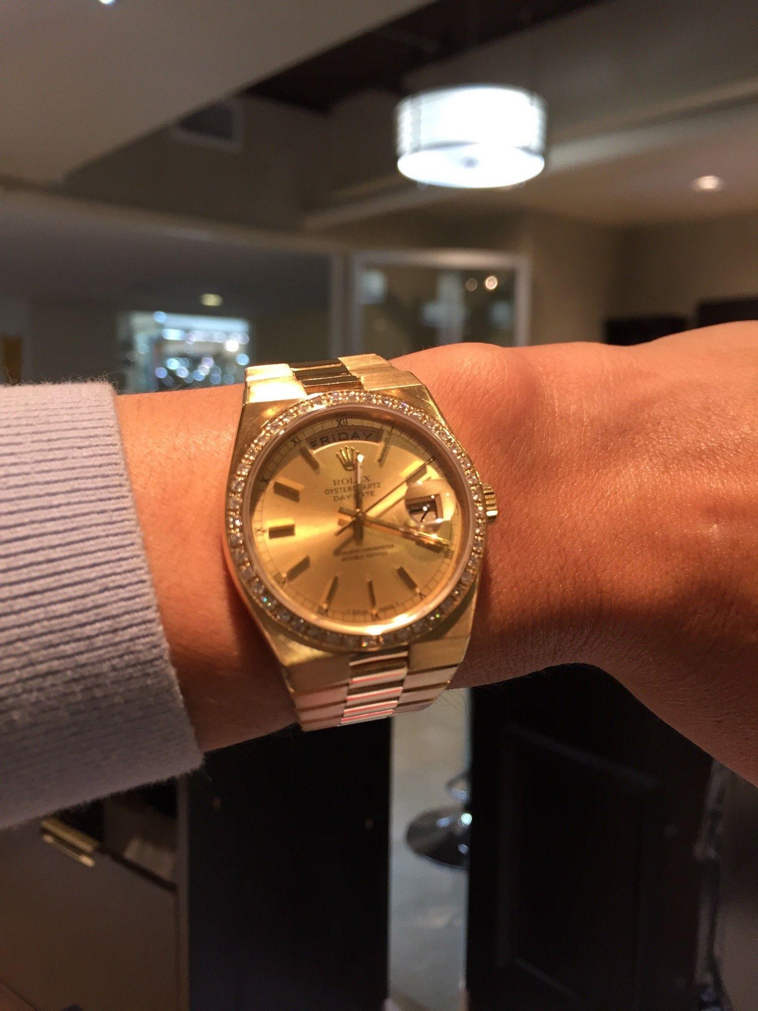 Rolex 18k Yellow Gold 36mm Rare Oysterquartz With Custom Diamond Bezel 9495 Http Www Aandewatches Com Rolex Oyst Rolex Prices Used Rolex Pre Owned Rolex