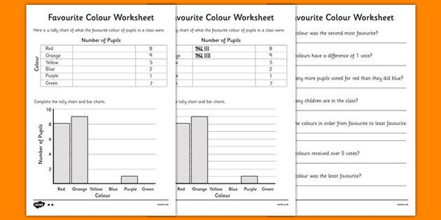 Favourite Colour Tally and Bar Chart Worksheets landforms - what is a bar chart