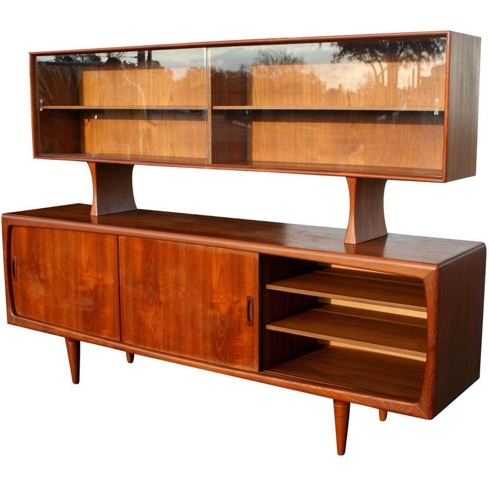Danish modern teak breakfront buffet mid century for Mid century modern danish furniture