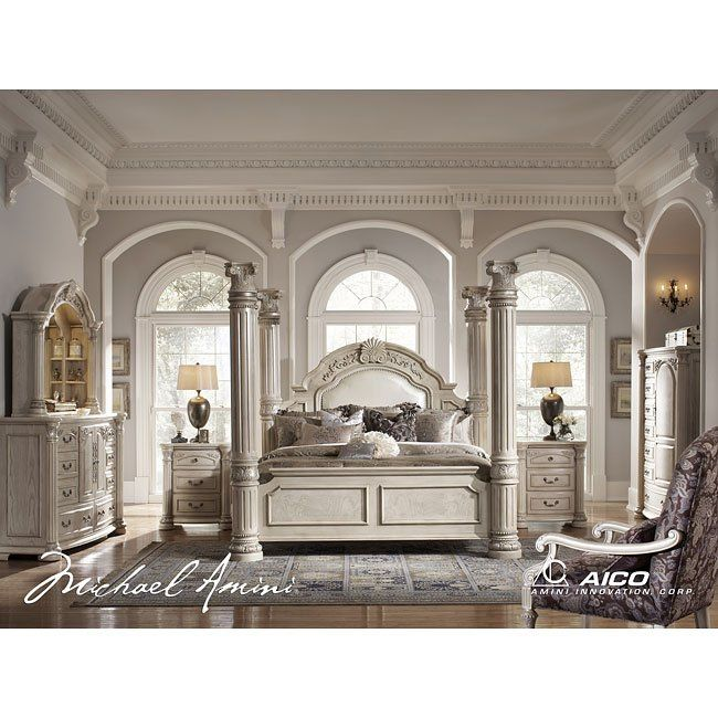 Monte Carlo II Poster Bedroom Set (Silver Pearl) in 2018 Beautiful - Poster Bedroom Sets