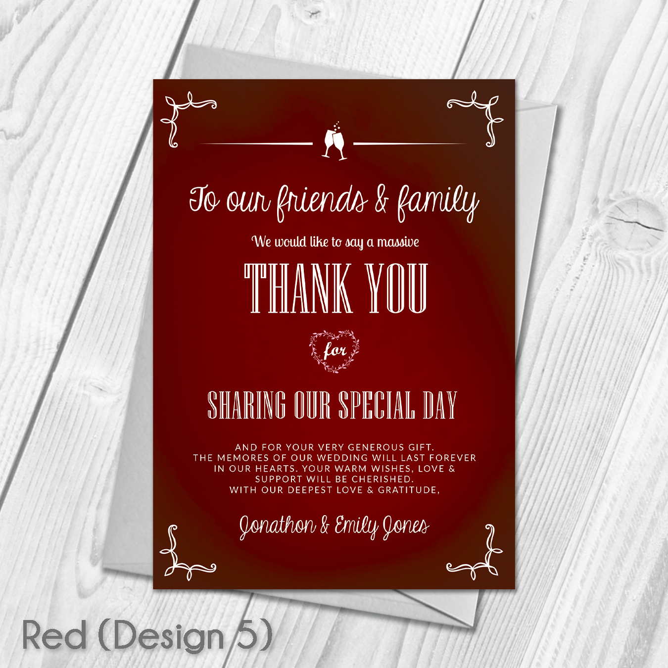 Premium Personalised Wedding Thank You Cards | Wedding Guest Thanks ...