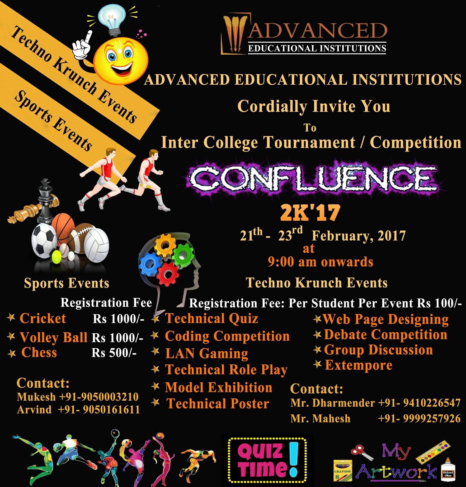 We Are Pleased To Inform You That Advanced Educational Institutions Palwal Is Organizing Inter College Tournament Education Institution Confluence