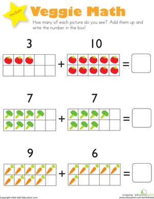 Addition: Veggie Math   Math, Veggies and Kindergarten