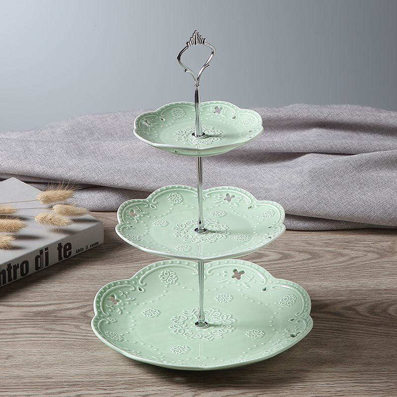 Light green 3 tiers ceramic cake stand silver crown
