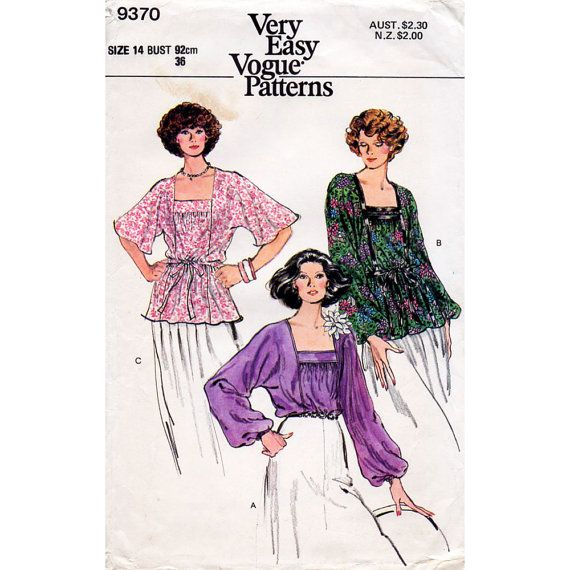 1970s Blouse Pattern Vogue 9370 Vintage Sewing by BessieAndMaive