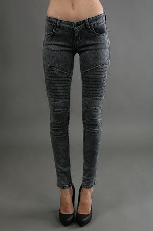 The Motorcycle Legging in Black Acid by James Jeans at CoutureCandy.com. js