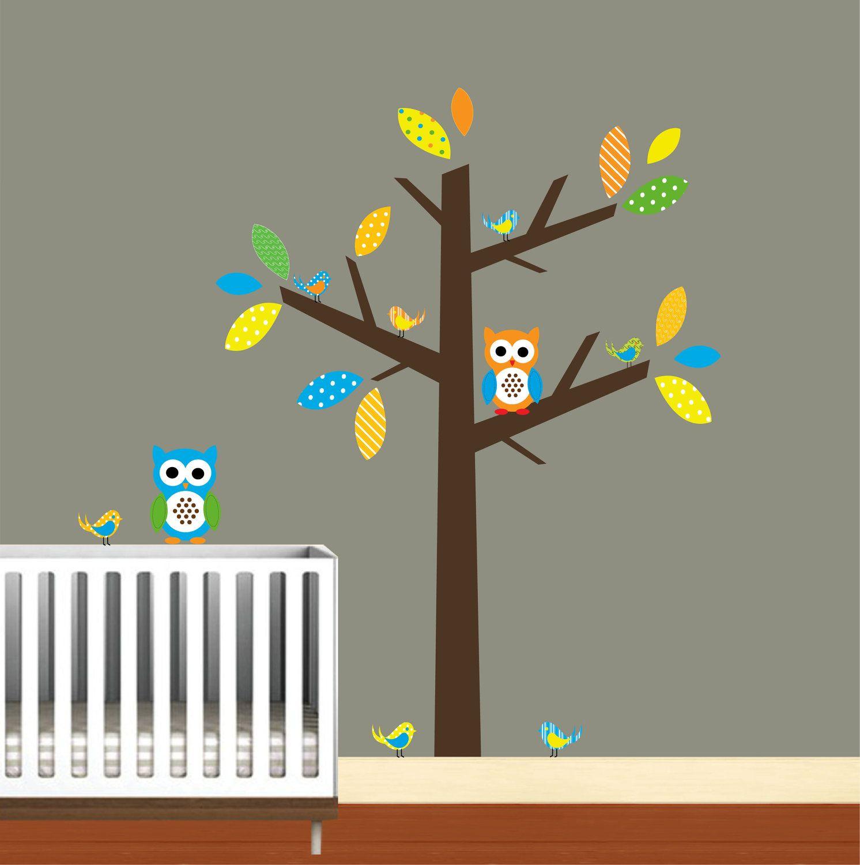 Wall Art Stick Tree Decal Nursery Birds Owls by ...