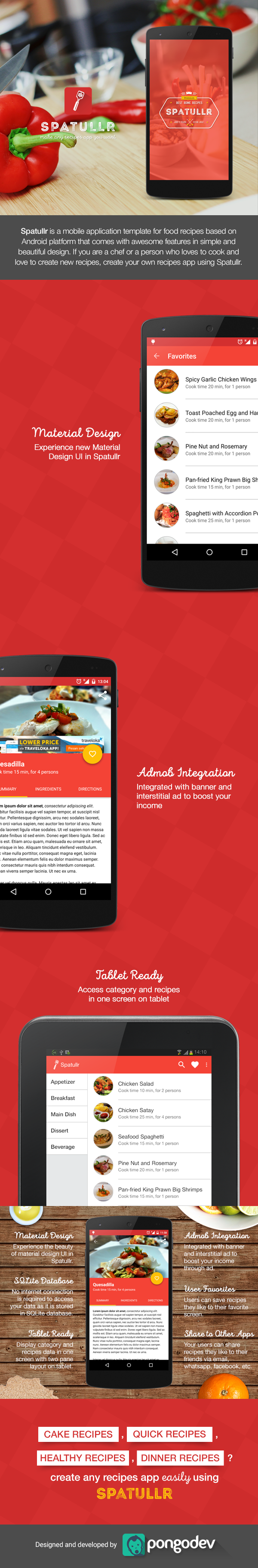 Spatullr recipes app for android on behance pongodev app spatullr is a mobile application template for food recipes based on android platform that comes with awesome features in simple and beautiful design forumfinder Image collections