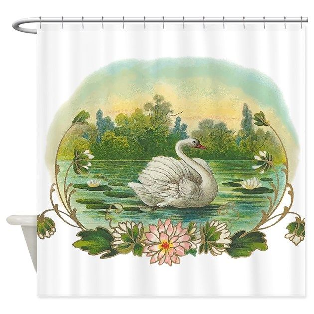 Swimming Swan Shower Curtain By Full Moon Emporium Curtains Victorian Illustration Swan