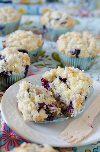 Quite possibly the best blueberry muffins I've ever made.  Love the browned butter and strussel topping...