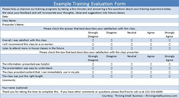 Example Training Evaluation Form
