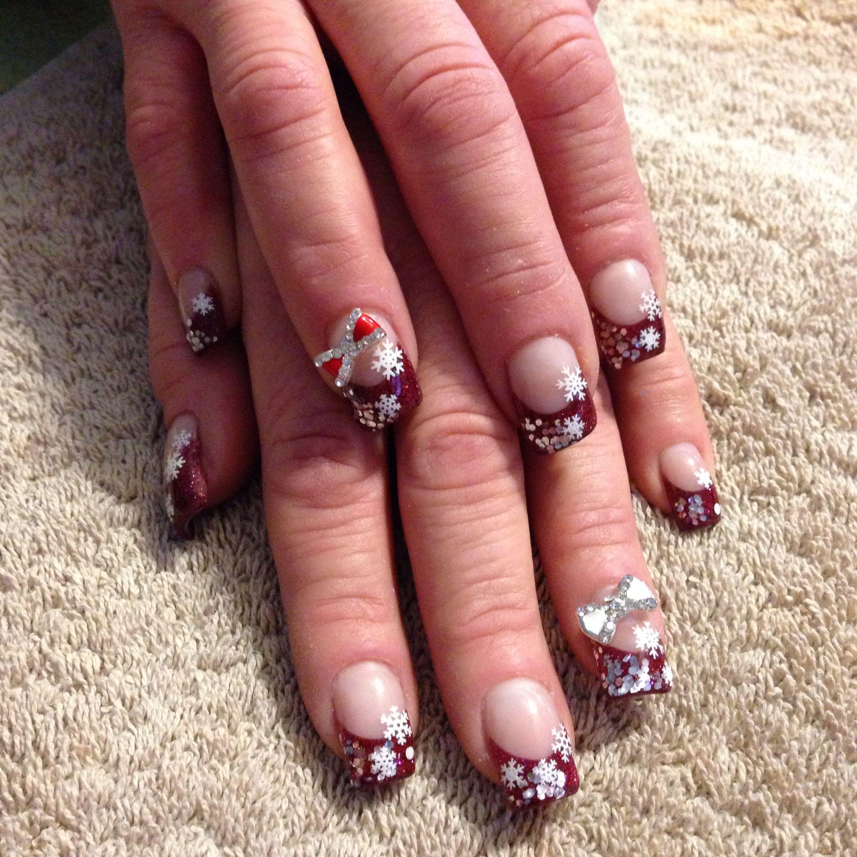 Snowflake acrylic nail design