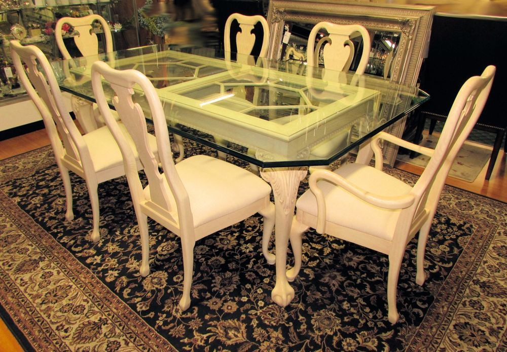 THOMASVILLE New American Oak Chippendale Glass Top Dining Table With 6 Chairs Thomasville Traditional