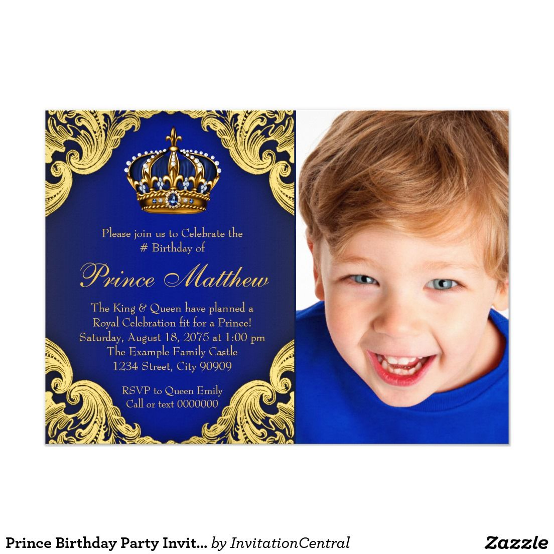 Prince Birthday Party Invitations   Party ideas   Pinterest   Prince ...