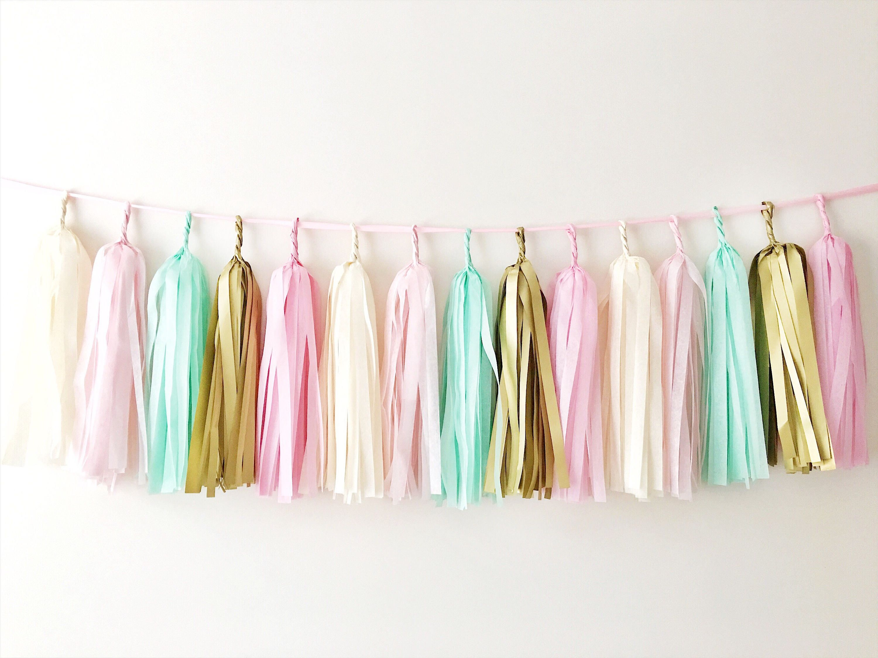 Pink Mint Gold Tassel Garland Wild One Birthday Backdrop