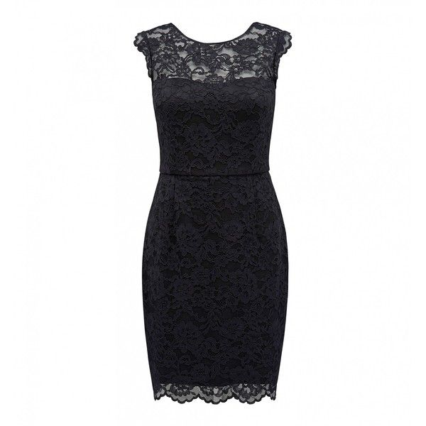 Forever New Zara lace bodycon dress ($56) ❤ liked on Polyvore featuring dresses, black, lacy dress, rib cage dress, lace body con dress, forever new dresses and lace dress