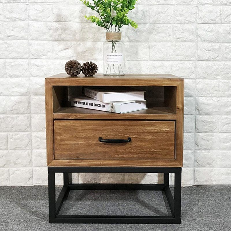 Loft Industrial Style American Retro Bedside Table Wrought Iron