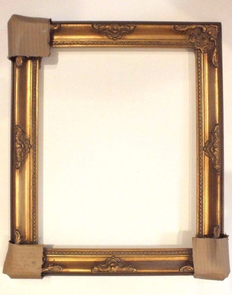 antique gold ornate victorian picture frame leaf wood 11 x 14 stage coach baroque