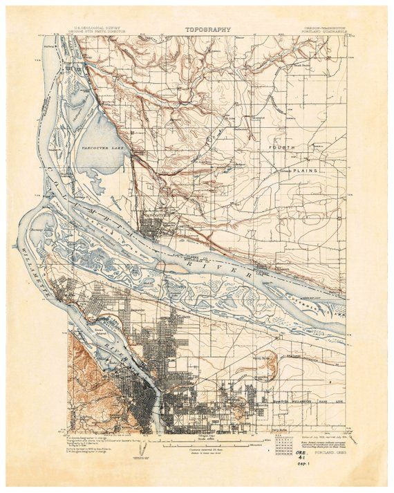 Vintage Oregon Map.Portland Oregon Map Print Map Of Portland Art Print Vintage