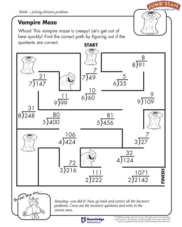Vampire Maze 4th Grade Math Worksheet for Division JumpStart – Free Division Worksheet