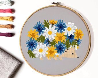 Photo of Hedgehog  floral Cross Stitch Pattern, flower, animal, easy counted cross stitch chart, nature cross stitch, hoop art, instant PDF