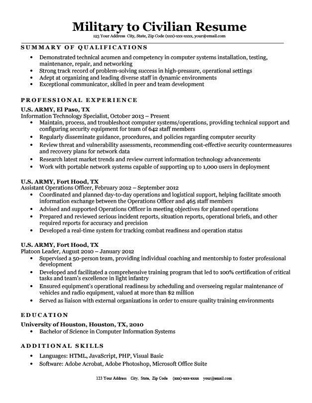 Military to Civilian Resume Sample & Tips Resume