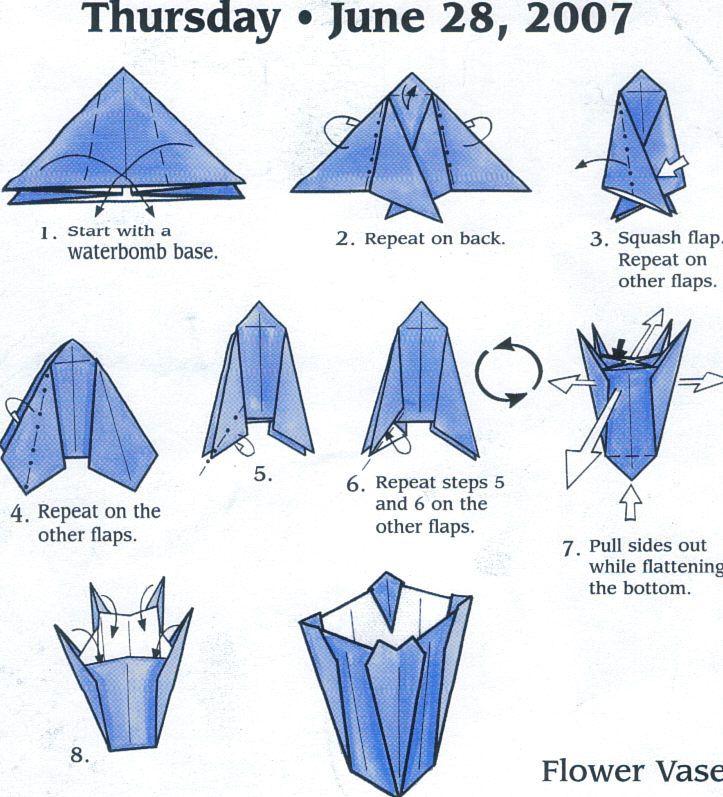 Flower Vase Origami Origami Origami Diagrams Origami Paper