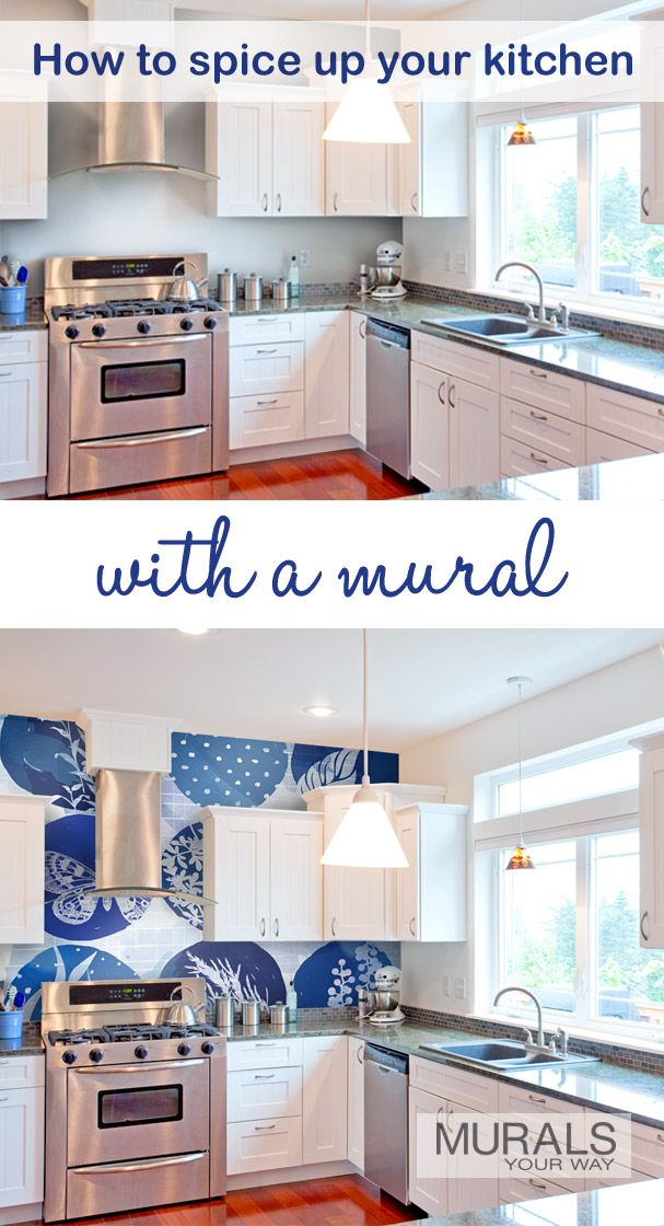 According to Apartment Therapy, navy is the new black and is perfect for the kitchen. A wall mural is an easy way to add color and pattern to your kitchen. Mural shown is Blue Art by Dari Design Studio (XD5003).
