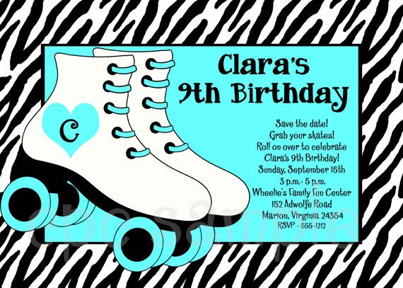 lets have a roller skating birthday party invite all your friends with these fun invitations featuring zebra graphics and skates - Roller Skating Birthday Party Invitations