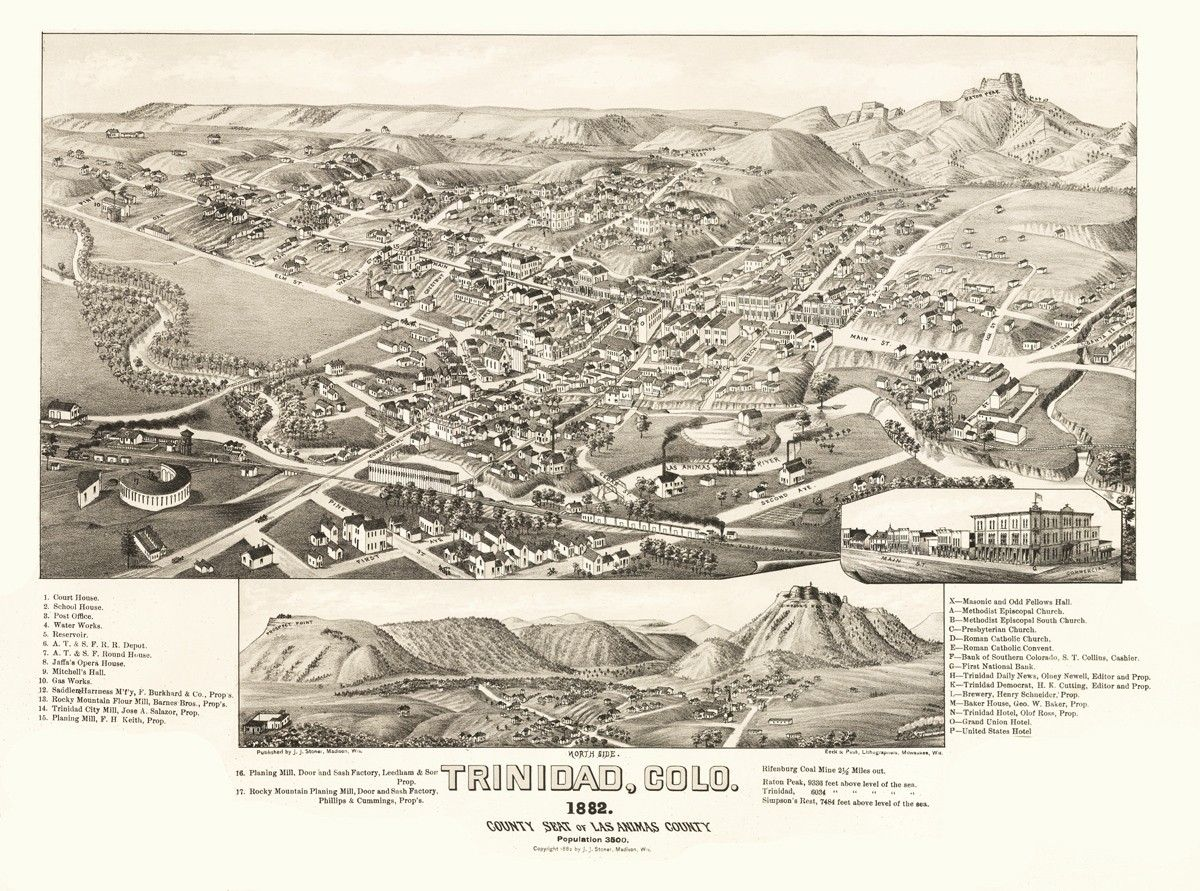 Vintage Map Trinidad Colorado Maps Pinterest - Map of colo
