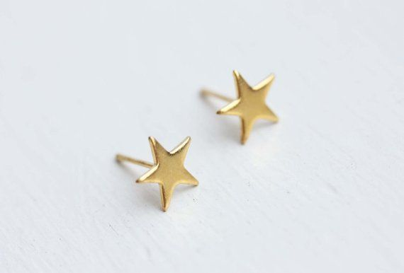 Star Studs Gold Small Earrings Simple Shape Si