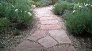 Lavender, Flagstone, Gravel, Crushed Stone, Garden path, Iceberg Roses, Nepeta, Catmint