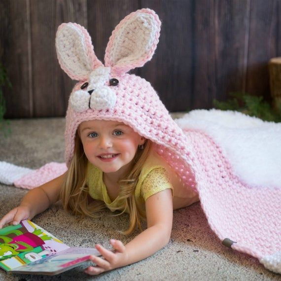 Woodland Bunny Blanket Crochet Pattern - Hooded Woodland Rabbit Blanket Crochet PATTERN MJ's Off The Hook Design #crochetedkitemsthatsell