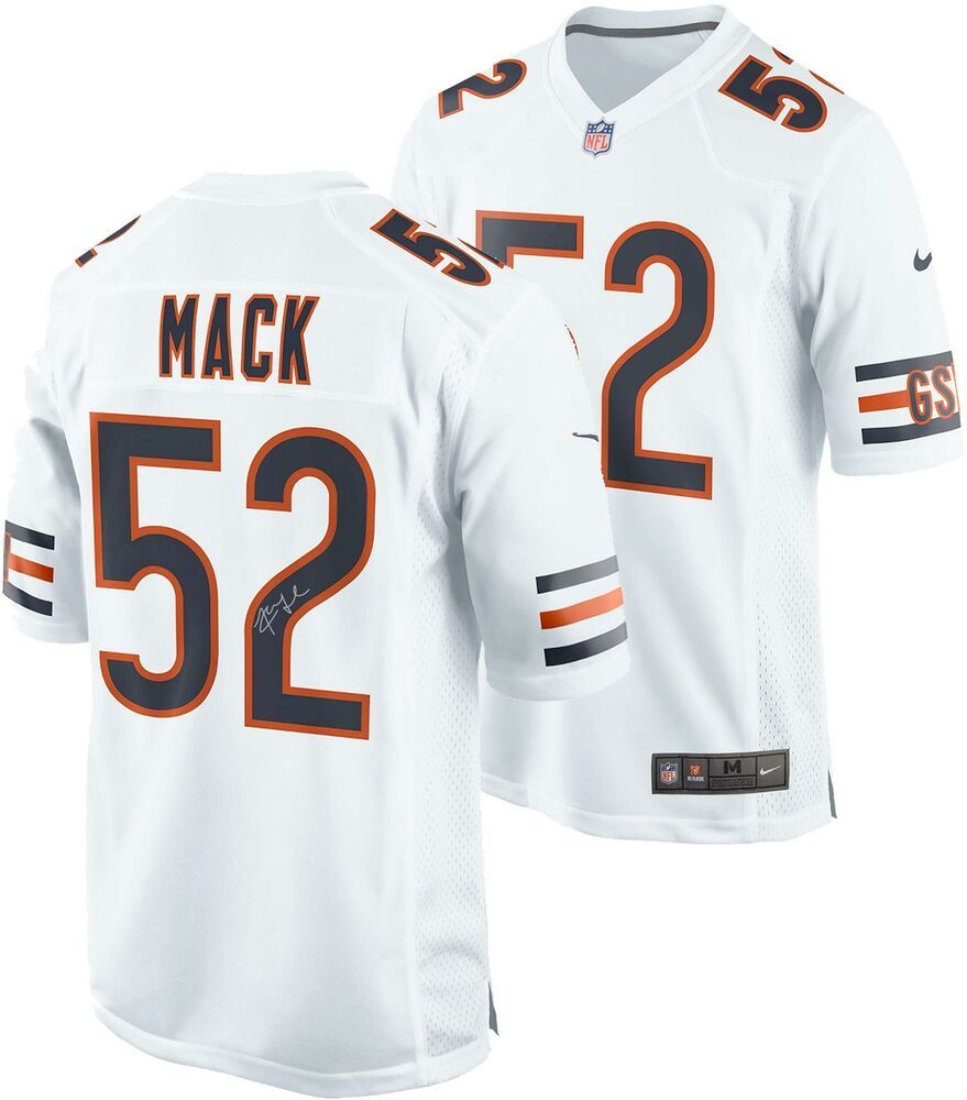 Khalil Mack Chicago Bears Autographed Nike White Game Jersey Sportsmemorabilia Autograph Football White Nikes Chicago Bears Jersey