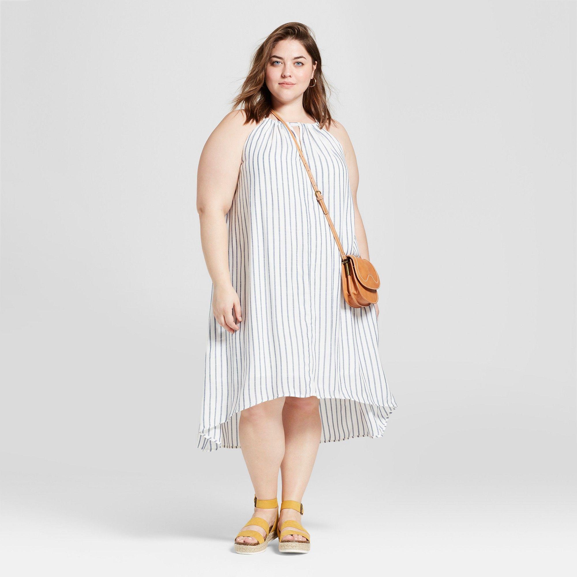 ee7eefe5d6398 Women's Plus Size High Neck Swing Dress - Universal Thread Navy 4X, Blue