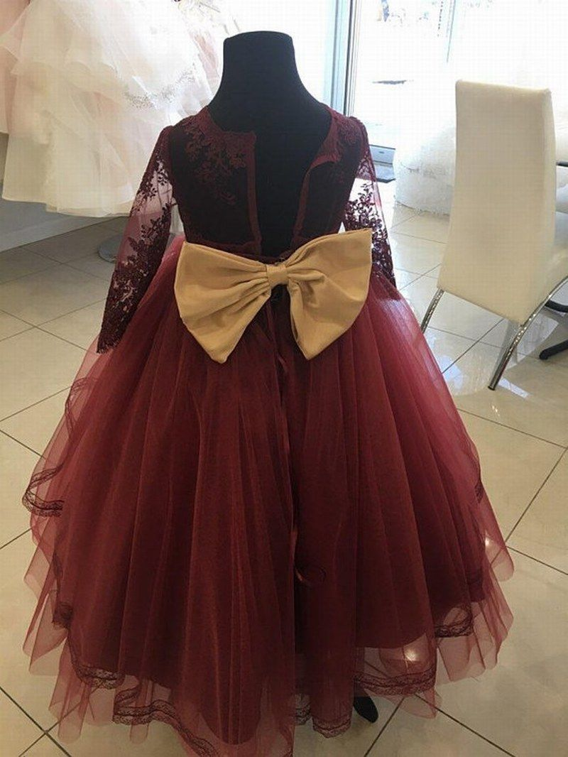 136ab592e Burgundy And Gold Flower Girl Dress With A Back Bow Xk95 (1) in 2019 ...