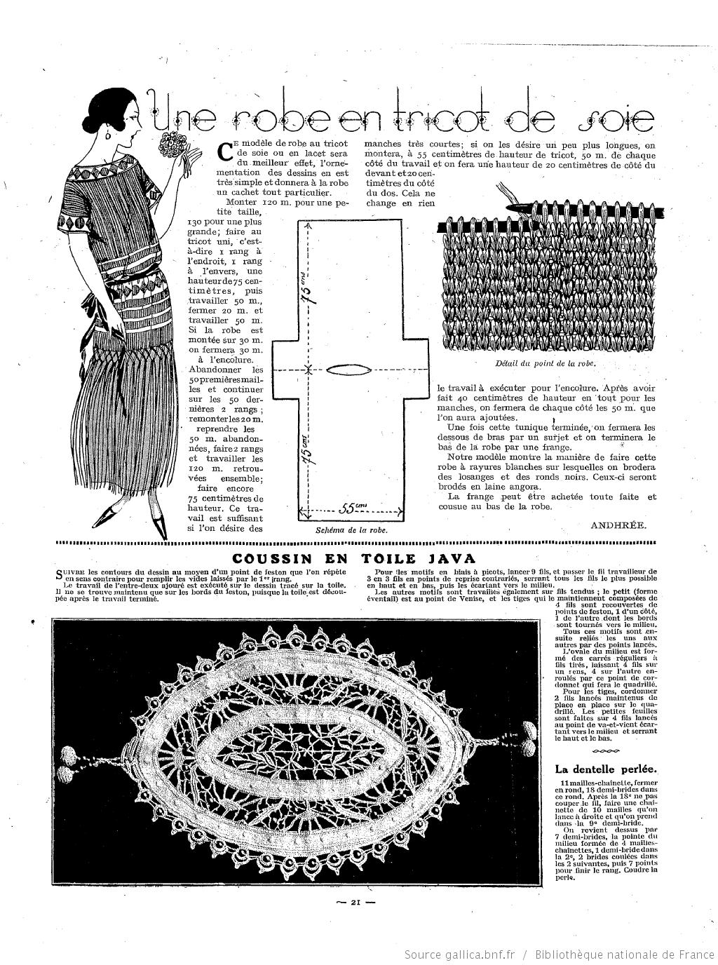 Les Modes de la femme de France 1922/03 | Vintage knitting | Pinterest