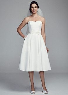 07ebc4ec759b David's Bridal Collection Strapless Faille Short Dress with Floral Sash  Style WG3691