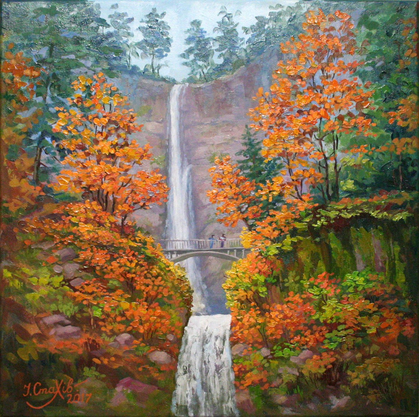 Landscape Painting On Canvas Golden Autumn Wall Art Waterfall Painting Fall Trees Nature Wall Deco Canvas Painting Landscape Landscape Wall Art Autumn Painting