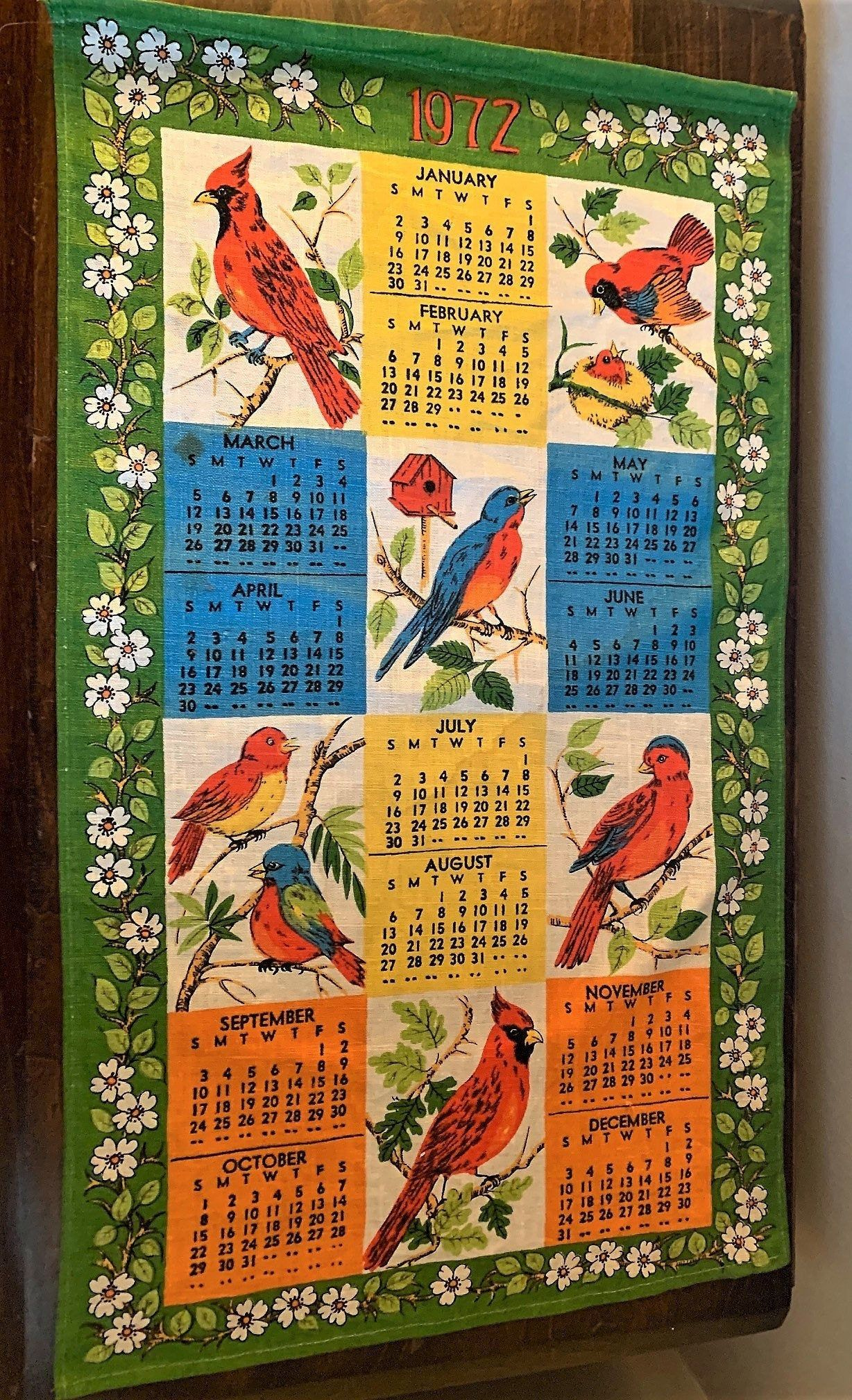 1972 Calendar Linen Wall Hanging Tea Towel With Colorful Birds In 2020 Tea Towel Display Retro Kitchen Decor Retro Kitchen
