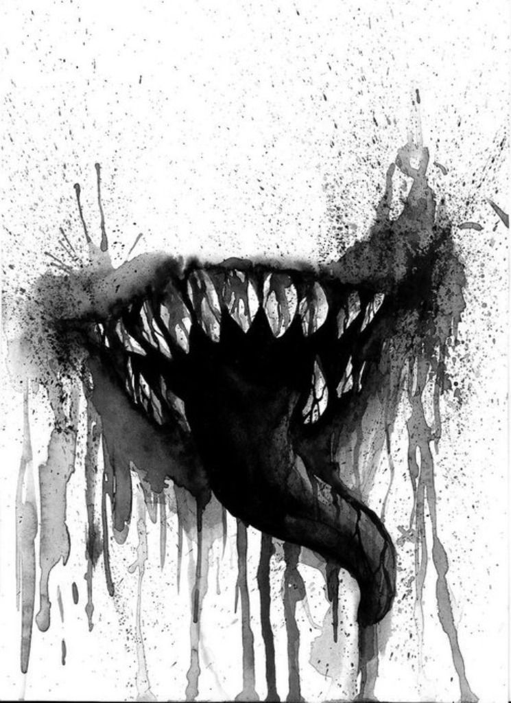 It is a graphic of Ridiculous Scary Mouth Drawing