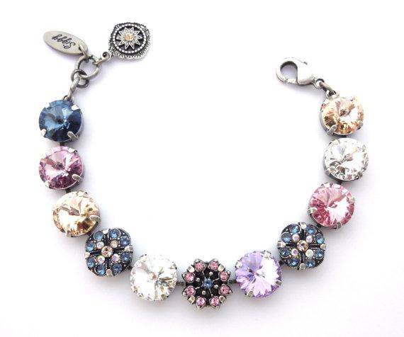 Swarovski crystal 12mm bracelet with flower by SiggyJewelry
