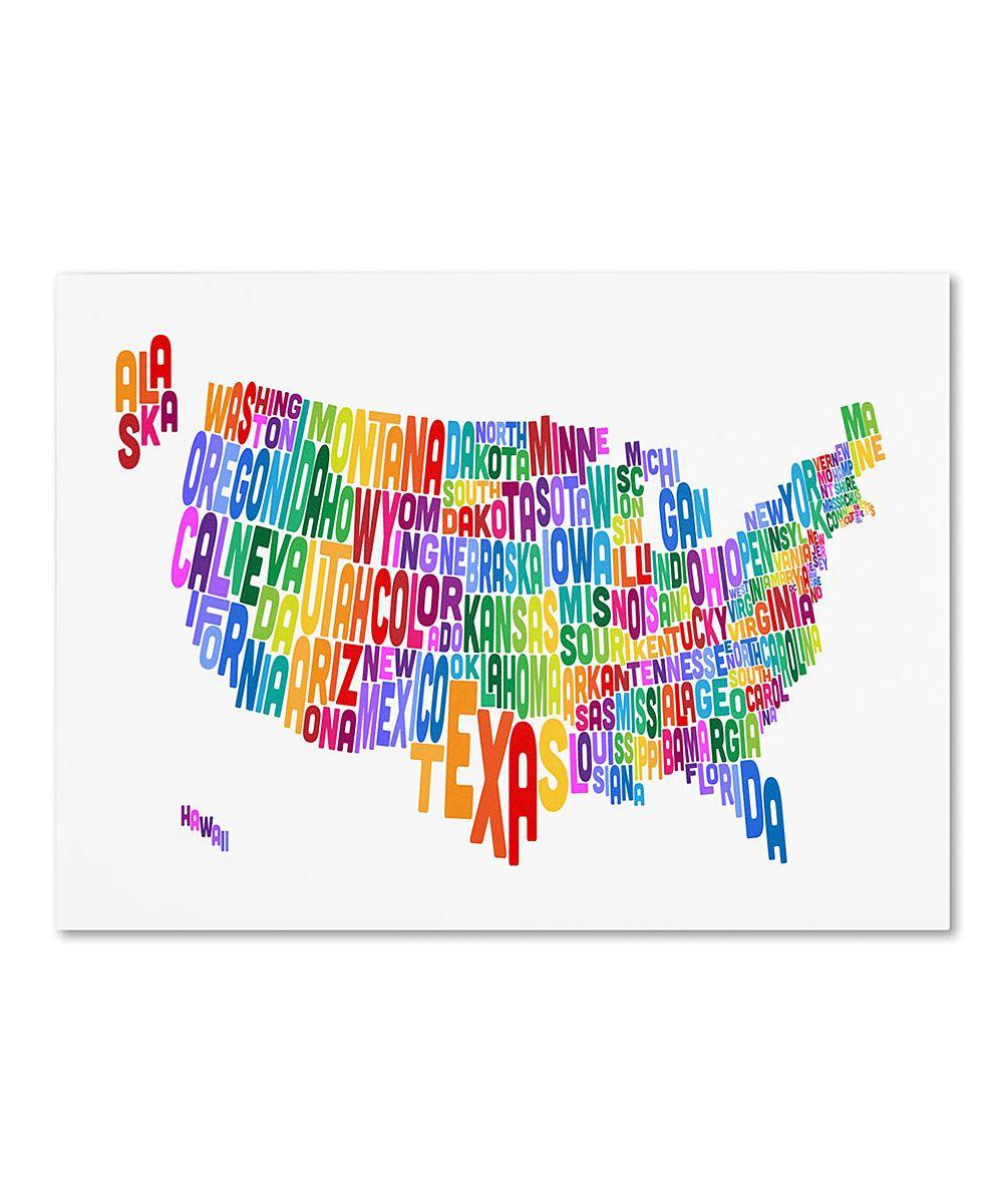 USA States Text Map